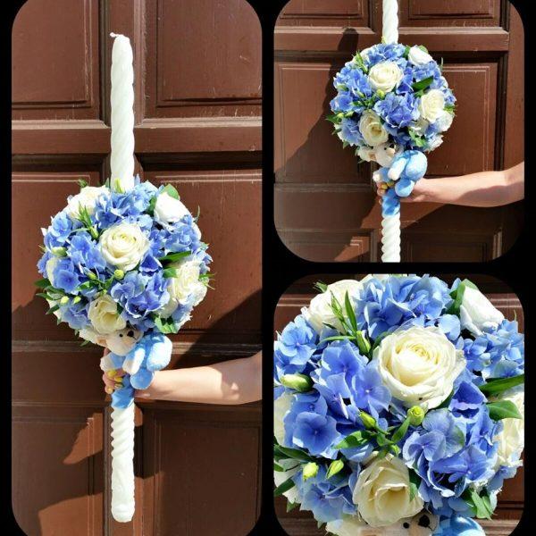 Lumânări pentru nuntă decorate cu flori artificiale